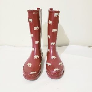 Western Chief Red Rain Boots with Elephants Size 9